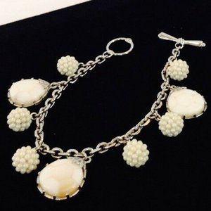 Carolee Mother of Pearl Charm Faux Pearl Bracelet